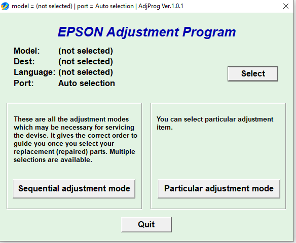 Reset Epson L805, L805 Adjustment Program